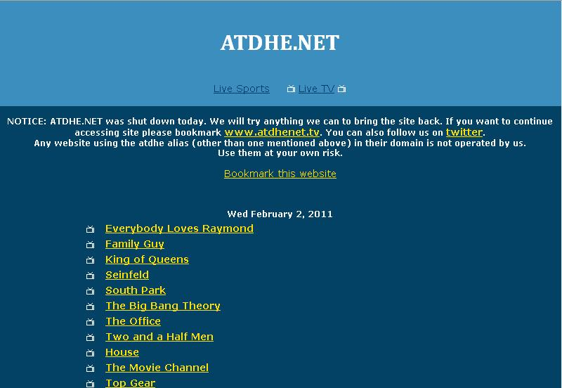 Less than 24 hours after ATDHE.NET Domain ICE Seizure, it emerges ...