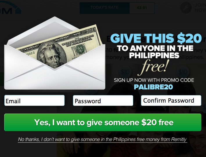 Send $20.00 to anyone in the Philippines for FREE!