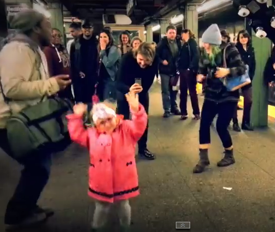 Watch: Little girl prompts dance party at NYC subway. (VIDEO)
