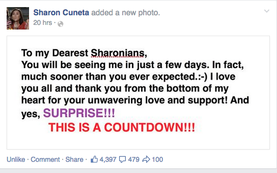 Is Sharon Cuneta hinting on her return to ABS-CBN?  It's a surprise.